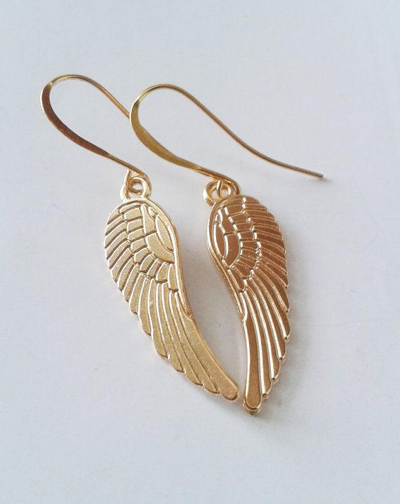 Angel wings earrings Gold angle wings by SimplyBlueJewelry on Etsy