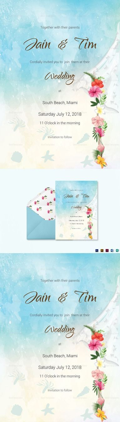 Beach Wedding Invitation Card Template $15 Formats Included :Illustrator, InDesign, MS Word, Photoshop, Publisher File Size :5x7 Inchs