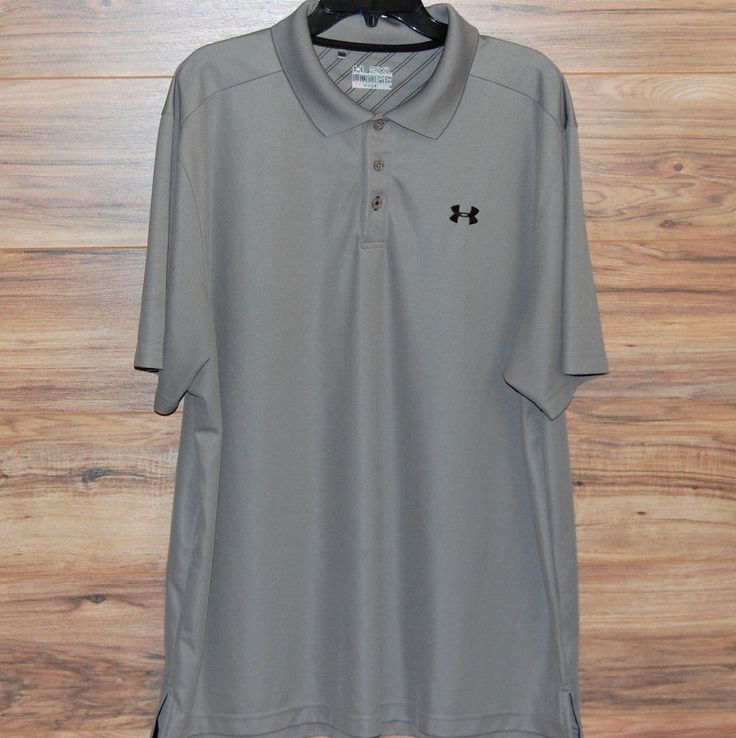 Under Armour Fade Polo Short Sleeve Mens XXL 2XL Gray HeatGear Loose Fit.  Men's Clothing ...