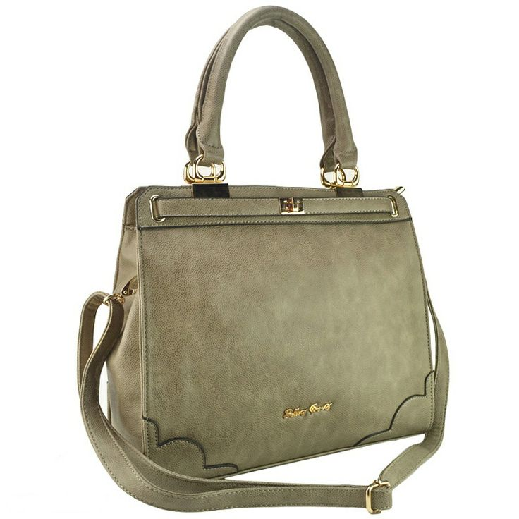 Sally Young - Boutique Brand Tote Bag With Twist Lock -Apricot -£36