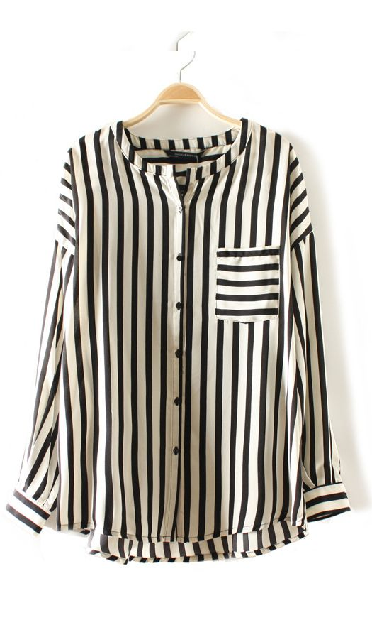 Cute Cheap Vintage classic vertical stripes with pocket blouse - $9.9 Free…