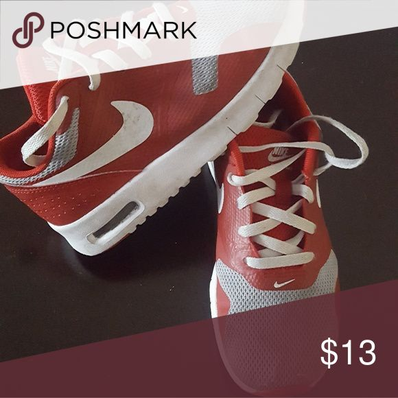Used Nike kids running shoes size 13 C 13C kids red and grey Nike running shoes Nike Shoes Sneakers