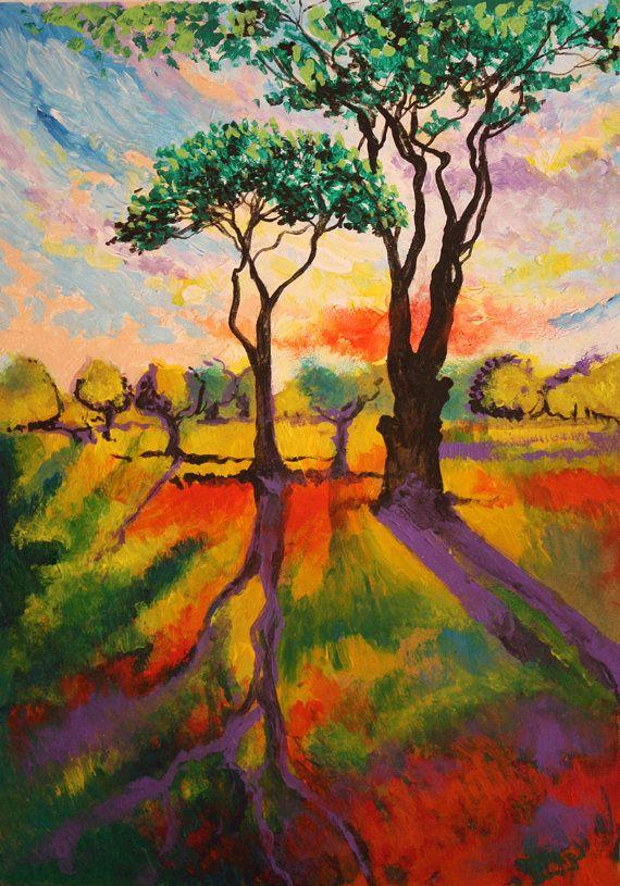 Árboles del paisaje con puesta de sol por atelierdangelone en Etsy