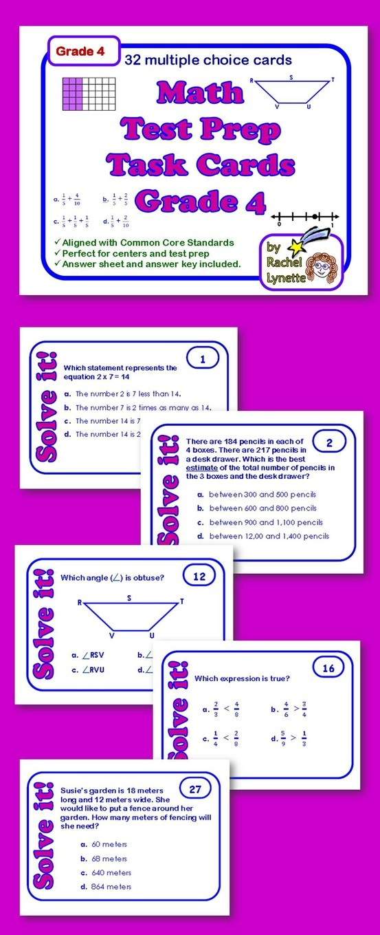 Use these 32 multiple choice math task cards as review or test prep. The cards were created using state standardized tests and grade 4 math Common Core Standards. Almost every standard is covered (often one question addresses several standards). Use at a center, with games or with the whole class. A student answer sheet and an answer key is provided.  $