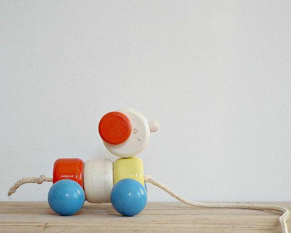 Vintage wooden toy wooden pull animal wooden dog by viadeinavigli