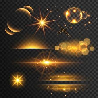 Conjunto de ouro montagens gif luzes e brilha com efeito de lente no fundo transparente