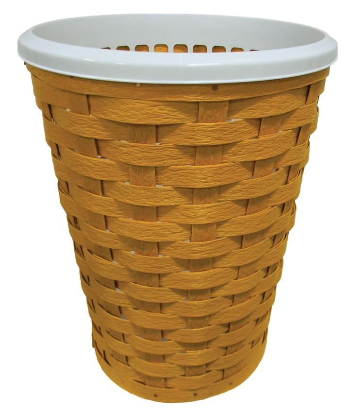 Amish Eco Friendly Large Round Laundry Hamper Basket Use this large hamper inside or out. Handwoven with poly material made of recycled plastic, this hamper works in the bedroom, bathroom or poolside.