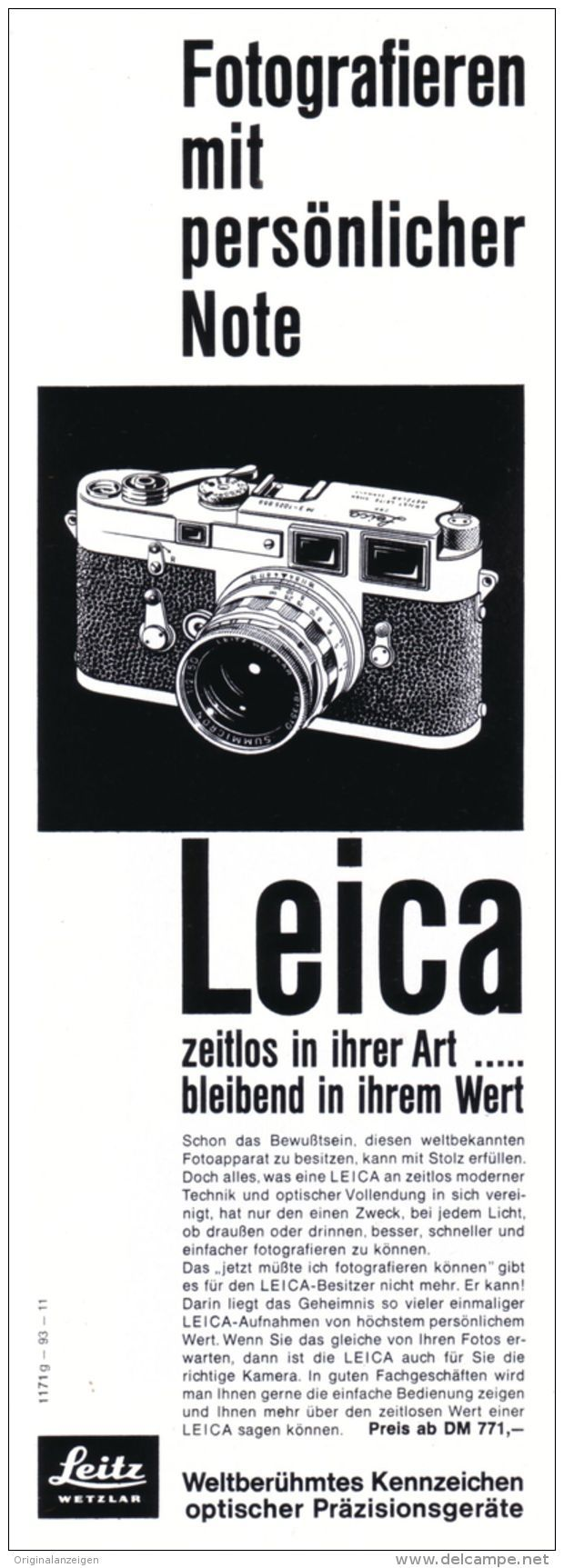 Original-Werbung/ Anzeige 1963 - LEICA KAMERA / LEITZ - WETZLAR - ca. 75 x 220 mm