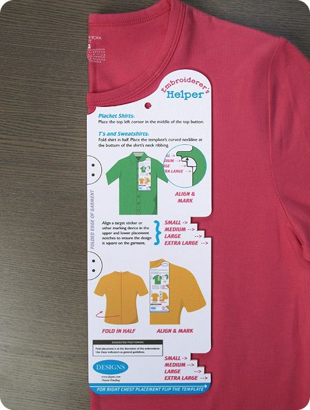 Here's a great way to quickly mark the placement of an embroidery on casual shirts.