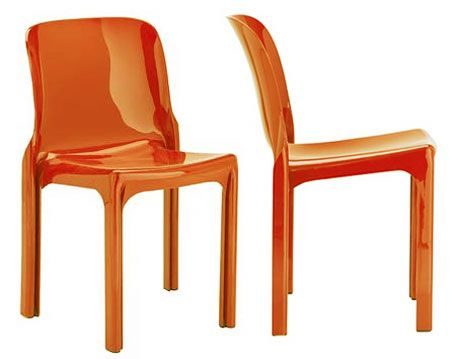"""Selene by Vico Magistretti, the first one piece plastic chair in design history. 1969. """"The key to the Selene chair was the section of the leg. I think I dealt with the problem by using a particular technology in the most proper way possible, but without allowing myself to be conditioned by it, or even inspired by the idea of modernity for its own sake."""""""