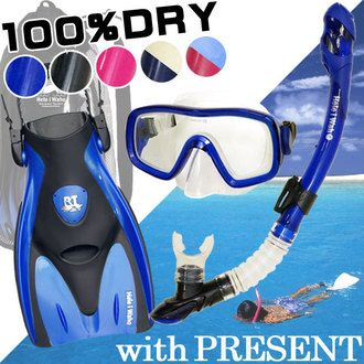 "Snorkel set ""100% ドライスノーケル' with snorkelling set 3-point snorkeling set Hele i Waho"