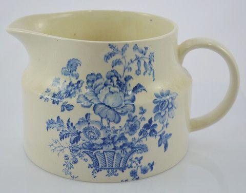 Vintage English Transferware Blue and White Pitcher Charlotte Basket Roses Crown Devon Utensil Holder or Flower Pot