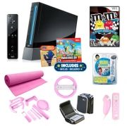 Nintendi Wii Black Super Mario Pink Holiday Bundle   * Nintendo Wii Console   * Wii Remote Plus controller   * Nunchuk controller   * New Super Mario Bros  * Console manual   * M Kart Racing  * GameShark Media Manager  * Travel Bag  * Pink Yoga Mat  * Pink Steering Wheel  * Pink Silicone Cases for Controllers  * 8 in 1 Pink Sports Pack includes:  Wii Golf Club, Wii Tennis Racket, Wii Baseball Bat, Wii Steering Wheel, Wii Controller Grip, Wii Remote Protection cover, 2x Padlock Strap  $229.99