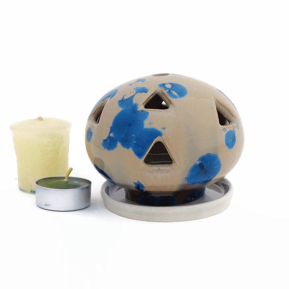 Small Crystal Glazed Ceramic Candle Holder for by SunbirdPottery