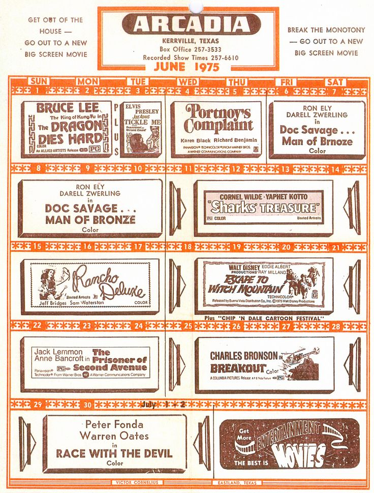 Movie Theater Calendar | Joe Herring Jr.: Wednesday Ephemera: Arcadia Theater Schedule, 1975