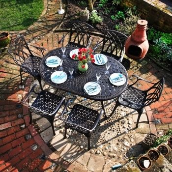 June 6 Seater Oval Cast Aluminium Garden Table by Lazy Susan