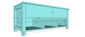 Storage Bench plans. I might leave the top front open and do a regular table top instead of a flip lid and use this as a TV stand??