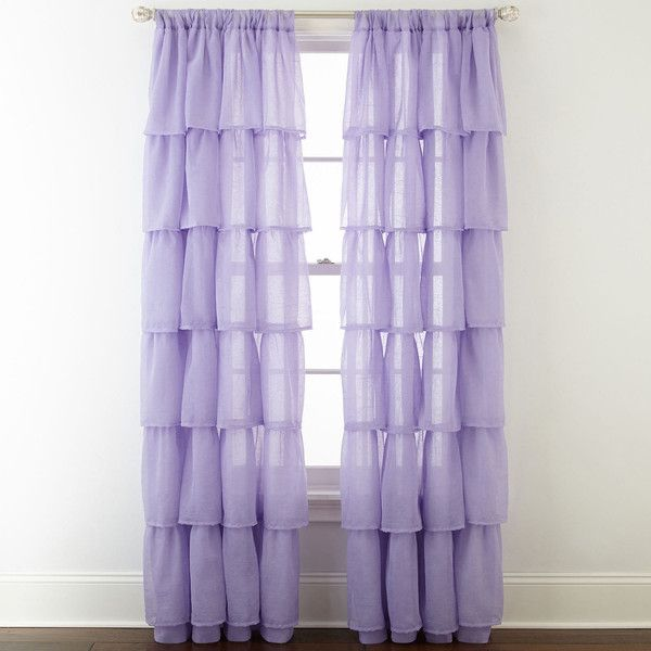Home Expressions™ Delia Ruffle Rod-Pocket Sheer Curtain Panel, Purple... ($36) ❤ liked on Polyvore featuring home, home decor, window treatments, curtains, ruffle curtain panel, sheer drapery panels, ruffle curtains, purple curtains and sheer curtain panels