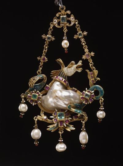 Hippocamp: gold, pearls, baroque pearl as body, emerald, enamel. Italy 16th Century via Jewelry Nerd
