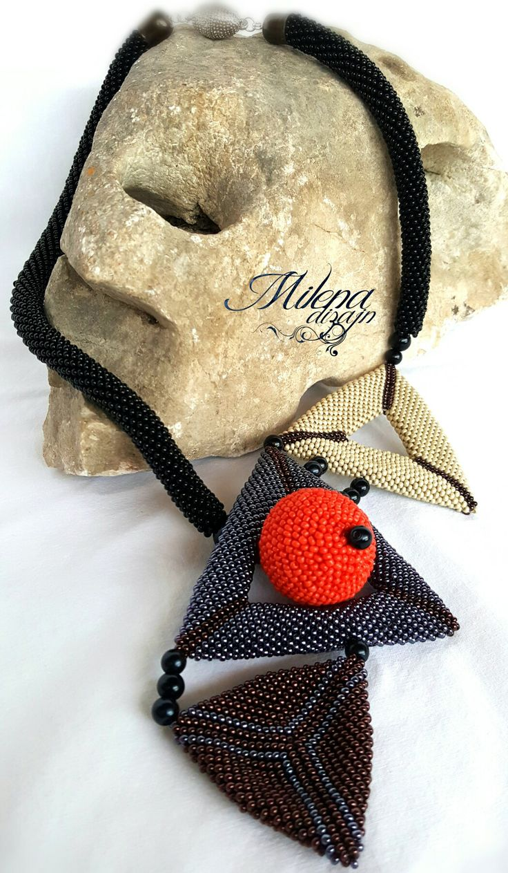 #triangle#beads#crochet#red#ball