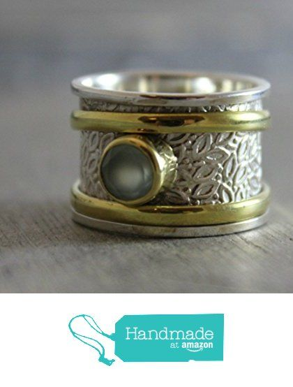Aqua Chalcedony Sterling Silver Brass Leaf Detailing Bohemian Spinning Fidget Ring, size 8 from Sophia Rose Jewellery https://www.amazon.com/dp/B01HOF35TQ/ref=hnd_sw_r_pi_dp_.wJ.xb1CHPXZN #handmadeatamazon