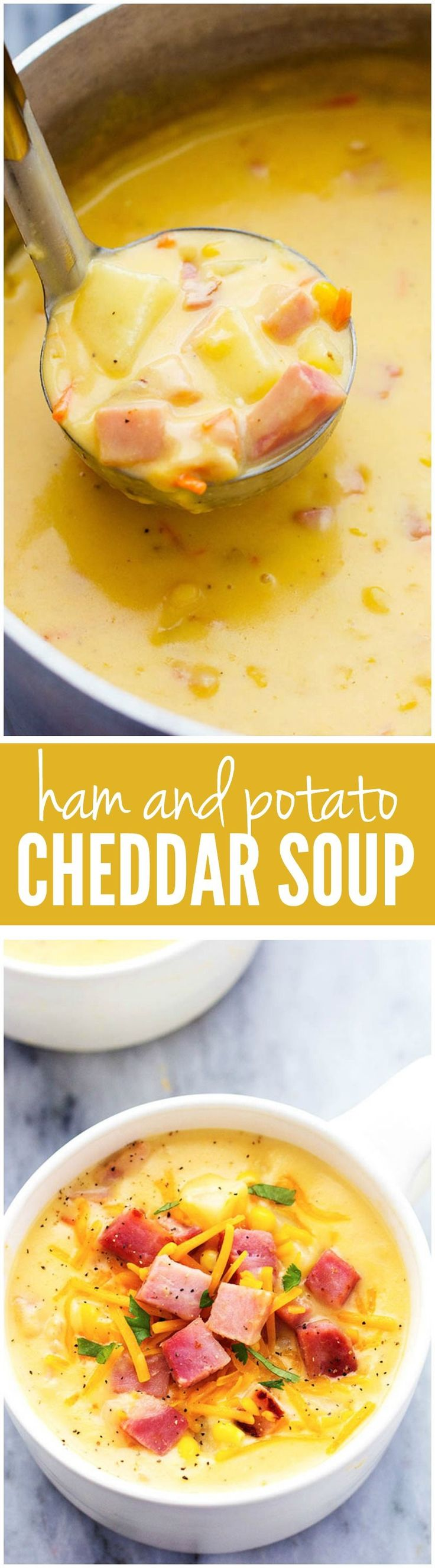 Ham and Potato Cheddar Soup.....This hearty and delicious soup is full of ham, potatoes, and veggies. The real cheddar cheese inside adds such amazing flavor to this comforting soup! Literally the BEST SOUP I have had!!