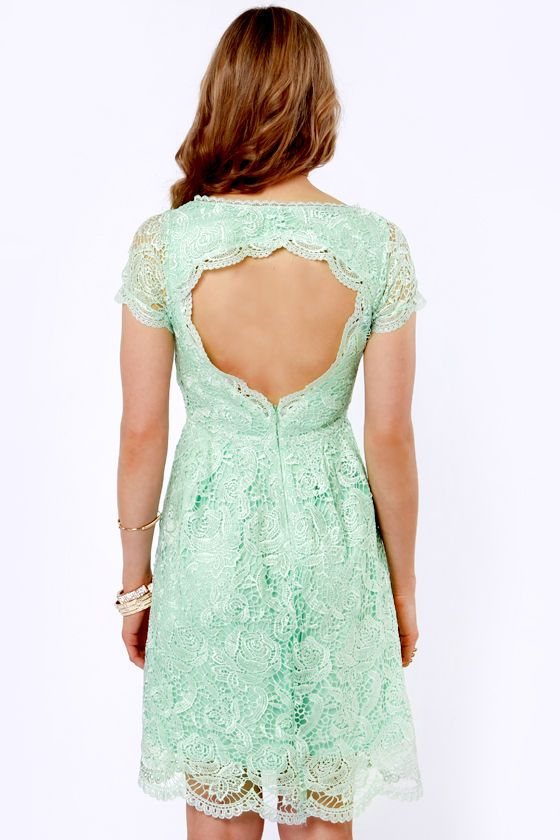 Pretty Mint Dress - Lace Dress - Backless Dress - $69.00