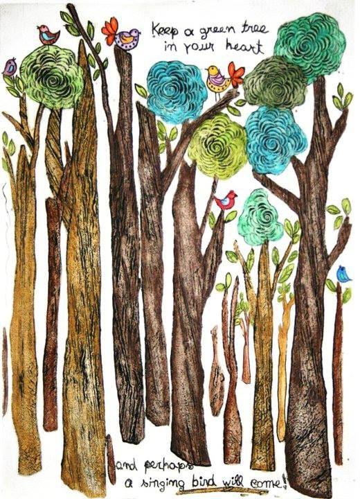 Lygia Dantas - Perth Artist Birds Can Sing  Limited Edition Print Original Collagraph & Watercolour