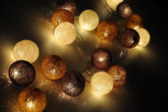 Brown Tones Cotton Ball String Lights for Patio, Party and Decoration (35 Bulbs) - Morgan Grand