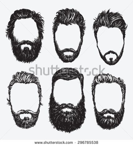 Hipster hair and beards, fashion vector illustration set. - stock vector