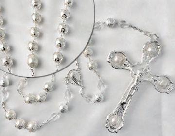 Lasso blanco de la perla con los granos de cristal de la perla de la alta calidad el cruc
