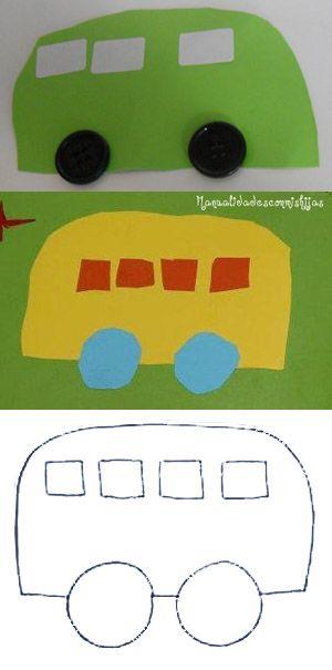 Manualidadesconmishijas. Autobús de cartulina. Kids craft. Bus. Punch art