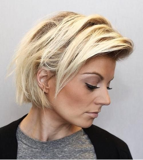 Short messy combover bob hairstyle