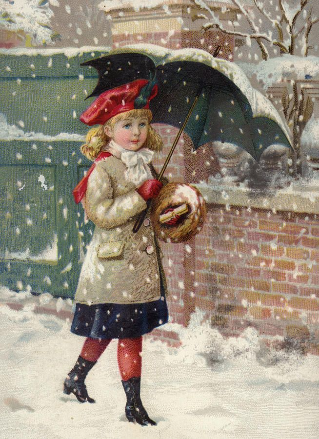 Old Post Card —  Girl With Umbrella In A Snow Shower   (654x900)....reépinglé par Maurie Daboux .•*`*•. ❥