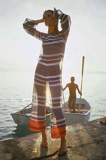 Verushka on the pier in stripes, 1965