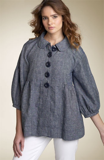 Free People Striped Textured Linen Blend Coat
