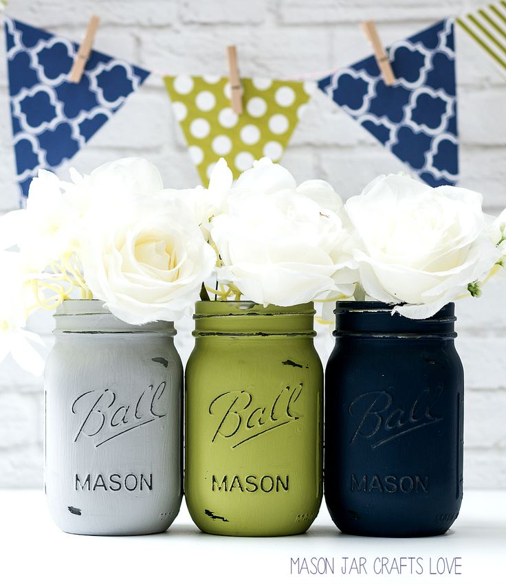 Blue, Green, Gray Mason Jar Wedding Vases | Mason Jar Crafts Love