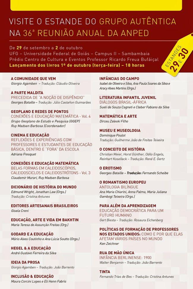Conheça a programação da @autentica_ed para a 36º Reunião Anual da ANPED,