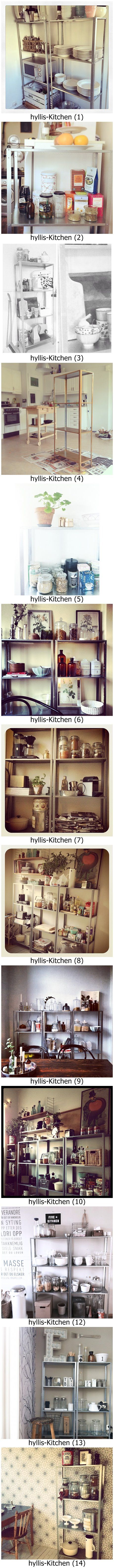 Ten Ikea hyllis kitchens. Ikea Hyllis shelves priced at $14.99 or £ 9 is an hackers dream!! Hack away!! # Furniture makeover # kitchen # industrial shelf