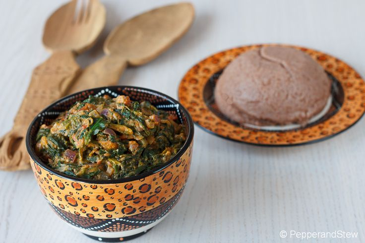 Sorghum Sadza  with spinach and peanut butter