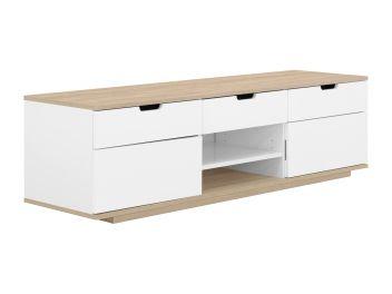 BARI TV-Benk 200 Hvit/Eik - TV-benker - Oppbevaring - Innendørs