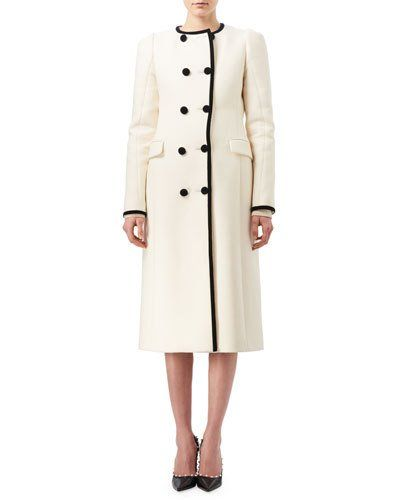B3V2A Altuzarra Bellasio Double-Breasted Coat with Contrast Velvet Trim, Black