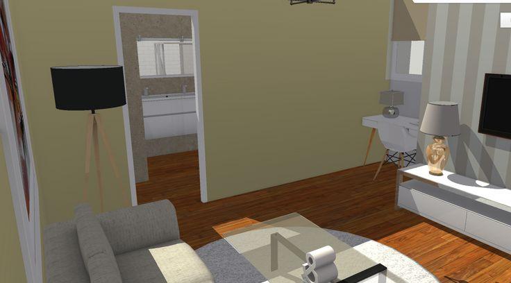 Vista de salón I, con el acceso al baño al fondo.