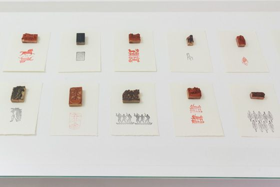 José Antonio Suárez Londoño Sellos (detail), 1990-2015, prints and rubber stamps. Galleria Continua San Gimignano, 2016. Photo by Ela Bialkowska