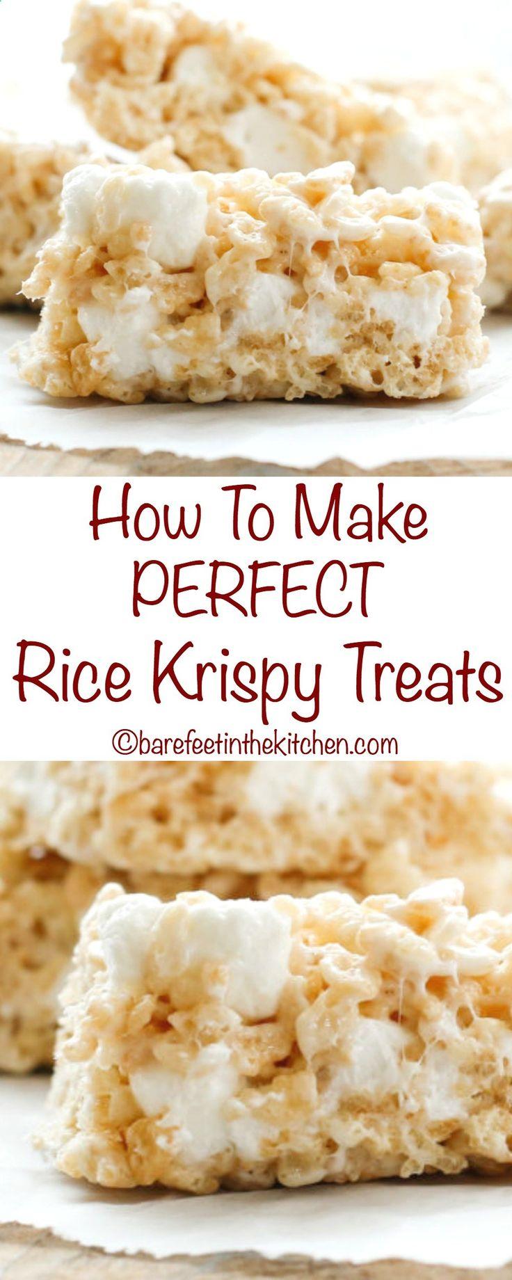 How To Make PERFECT Rice Krispy Treats - get the recipe at barefeetinthekitc...