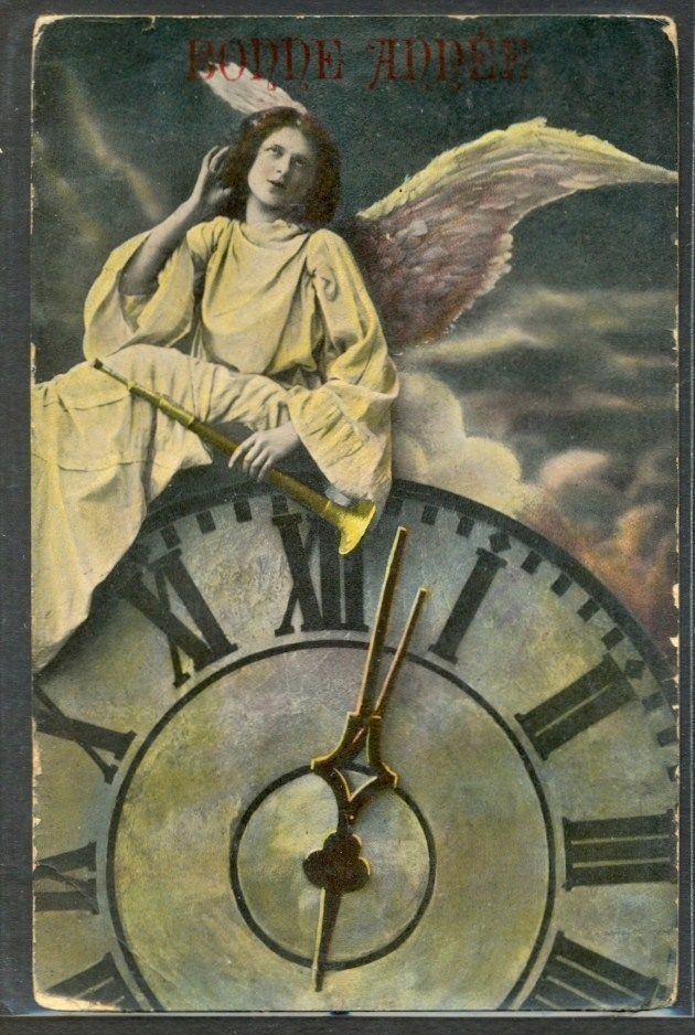 KV187 SURREALISME ANGE PENDULE HORLOGE FEATHER WINGS CLOCK PHOTO MONTAGE pc