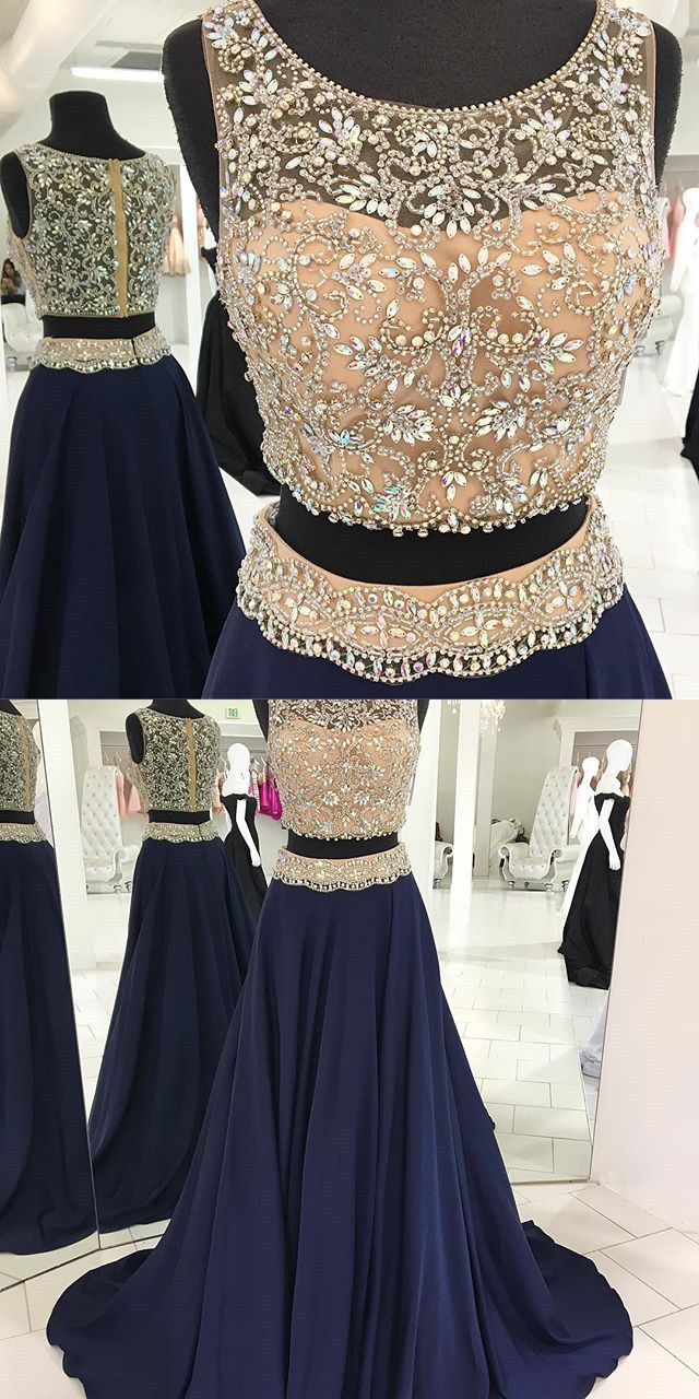 luxurious beaded two piece navy blue long prom dress, 2018 prom dress party dress formal evening dress #promdress #twopiecepromdress #navyblue #partydress