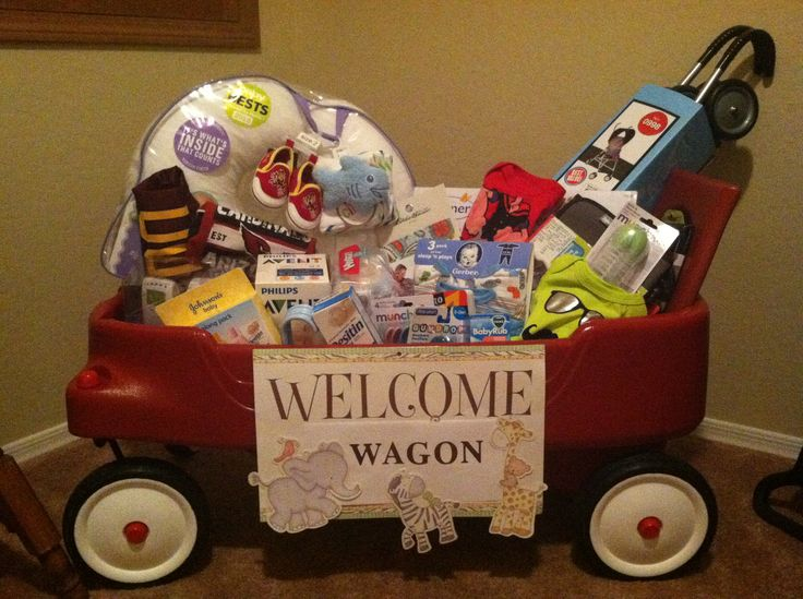 """Welcome Wagon"" baby shower gift My creation"