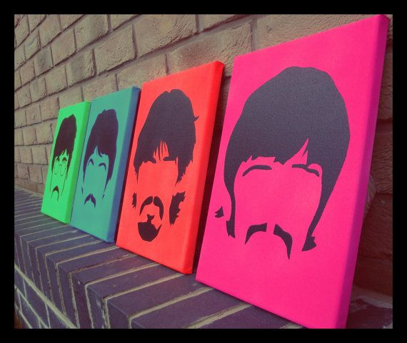 THE BEATLES- Handmade Wall art Neon Sgt Peppers Era minimal spraypaint stencil on canvas on Etsy, $58.70