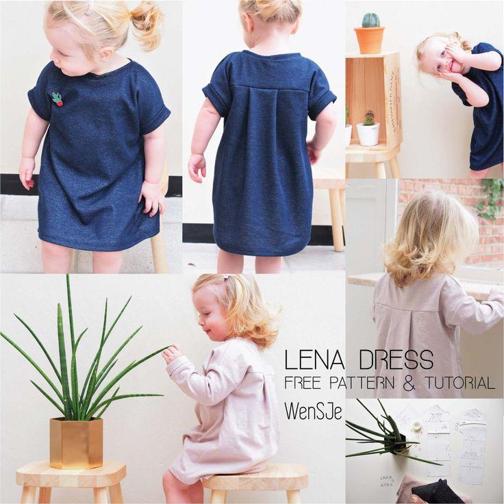 Lena dress WenSJe free sewing pattern. Gratis naaipatroon. Jurkje. Maat 80 tot en met 116